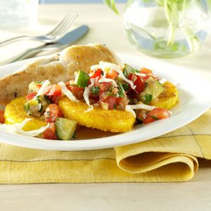 Veggie-Topped Polenta Slices Recipe