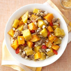 Winter Squash, Sausage & Feta Bake Recipe