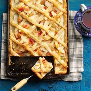 Lattice-Topped Pear Slab Pie Recipe