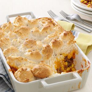 Bubbly & Golden Mexican Beef Cobbler