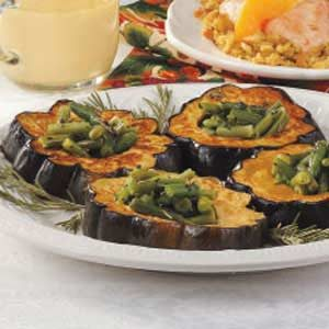 Squash Rings with Green Beans Recipe