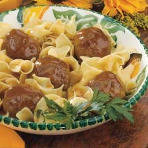 Tangy Meatballs Over Noodles Recipe