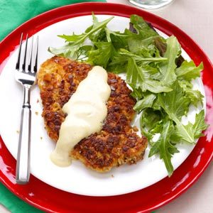 Pretzel-Crusted Chicken with Mixed Greens Recipe