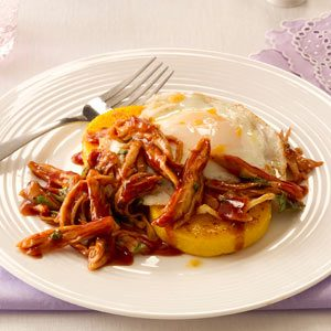 BBQ Chicken Polenta with Fried Egg Recipe