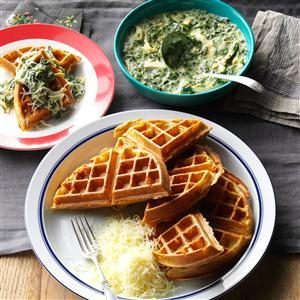 Whole Wheat Waffles with Chicken & Spinach Sauce Recipe