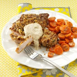 Walnut-Breaded Chops with Honey-Mustard Sauce