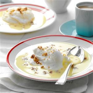 European Week: Meringue Snowballs in Custard