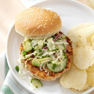 Salmon Burgers with Tangy Slaw Recipe