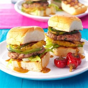 Pork Burgers with Grilled Pineapple & Peppers Recipe