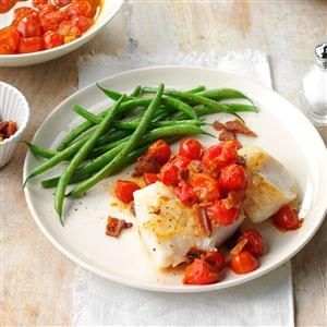 Cod with Bacon & Balsamic Tomatoes Recipe