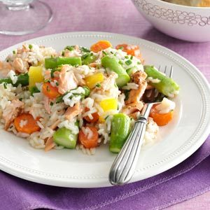 Spring Pilaf with Salmon & Asparagus Recipe