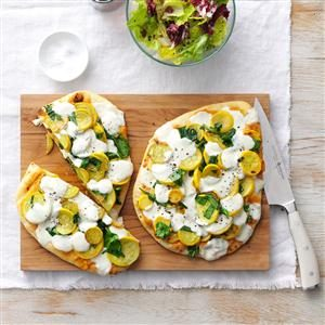 Cheesy Summer Squash Flatbreads Recipe