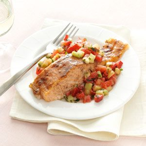 Brown-Sugar Salmon with Strawberries Recipe