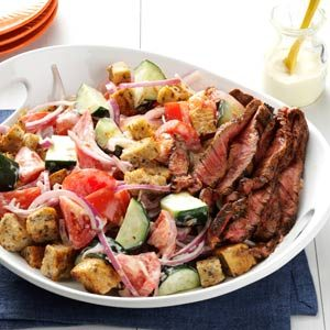 Chili-Rubbed Steak & Bread Salad Recipe