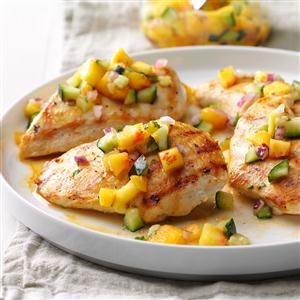Chicken with Peach-Cucumber Salsa Recipe
