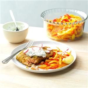 Pistachio-Crusted Salmon with Rainbow Vegetable Cream