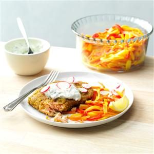 Pistachio-Crusted Salmon with Rainbow Vegetable Cream Recipe