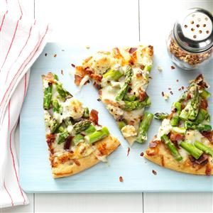 Asparagus, Bacon & Herbed Cheese Pizza Recipe