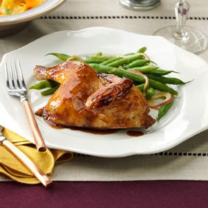 Mahogany-Glazed Cornish Hen Recipe
