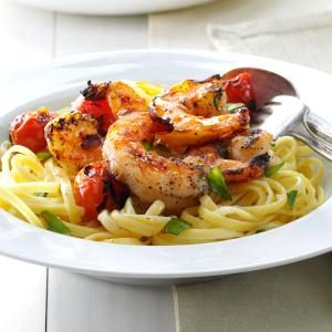 Grilled Shrimp & Tomatoes with Linguine Recipe