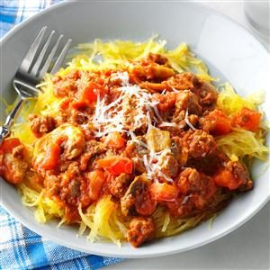 Garlic Spaghetti Squash with Meat Sauce
