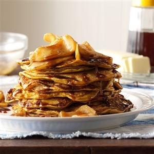 Pumpkin Pancakes with Cinnamon-Apple Topping Recipe