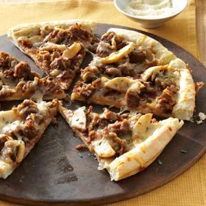 Sweet & Smoky Sausage Pizzas Recipe