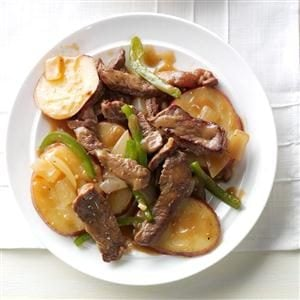 Pepper Steak with Potatoes Recipe