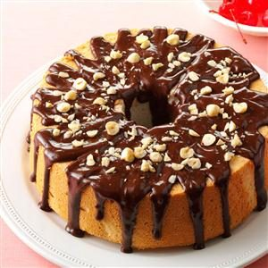 Mocha-Hazelnut Glazed Angel Food Cake Recipe