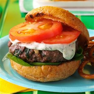 Grilled Spinach Feta Burgers Recipe