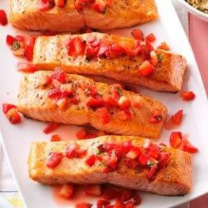 Seared Salmon with Strawberry Basil Relish Recipe