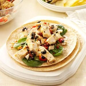 Warm Greek Chicken Wraps  Recipe