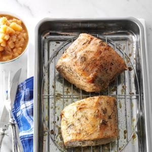 Roast Pork Loin with Rosemary Applesauce Recipe