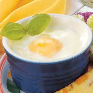 Baked Eggs with Basil Sauce Recipe