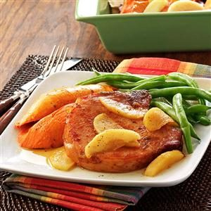 Smoked Pork Chops with Sweet Potatoes Recipe