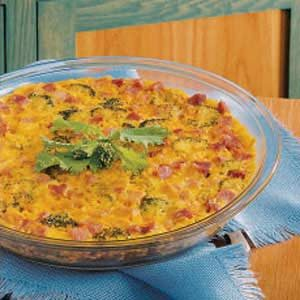 Cheesy Broccoli and Ham Quiche Recipe