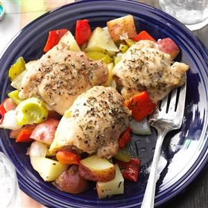 Roasted Chicken Thighs with Peppers & Potatoes Recipe