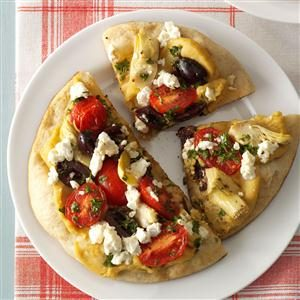Grilled Greek Pita Pizzas Recipe