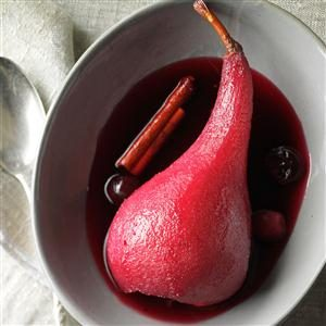 Red Wine & Cranberry Poached Pears Recipe
