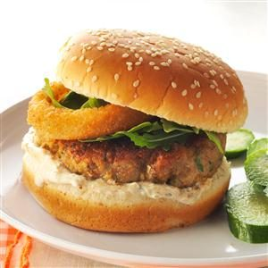 Falafel Chicken Burgers with Lemon Sauce
