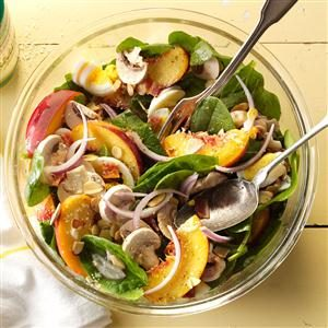 Spinach & Bacon Salad with Peaches Recipe