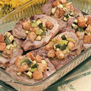 Pork Chops with Zucchini Dressing Recipe
