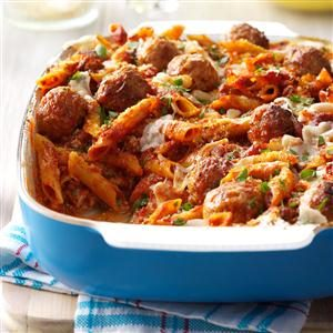 Three-Cheese Meatball Mostaccioli