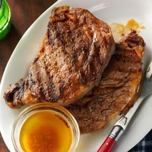 Grilled Ribeyes with Browned Garlic Butter Recipe