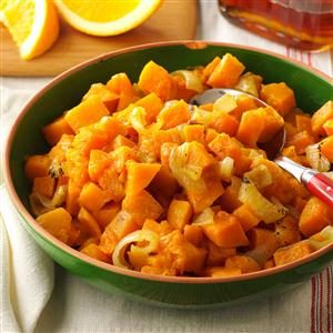 Roasted Butternut Squash & Sweet Onions with Maple-Orange Drizzle