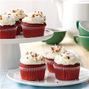 Red Velvet Cupcakes with Cream Cheese Coconut-Pecan Frosting