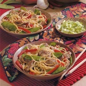Pork Lo Mein with Spaghetti