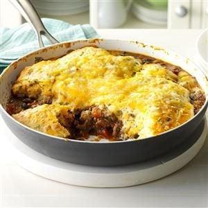 Fiesta Beef Cheese Skillet Cobbler Recipe Taste Of Home