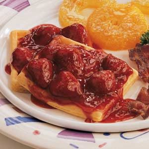 Waffles with Warm Strawberry Sauce Recipe