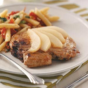 Pork Chops with Sliced Pears Recipe